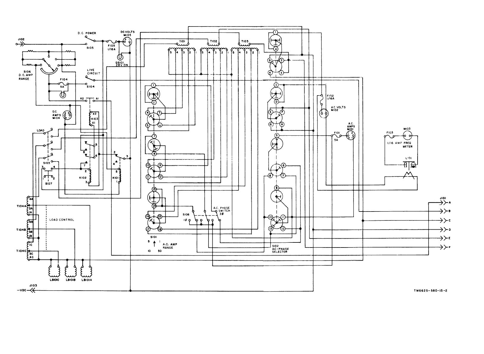 Figure 1-4. Aircraft motor-generator tester schematic diagram