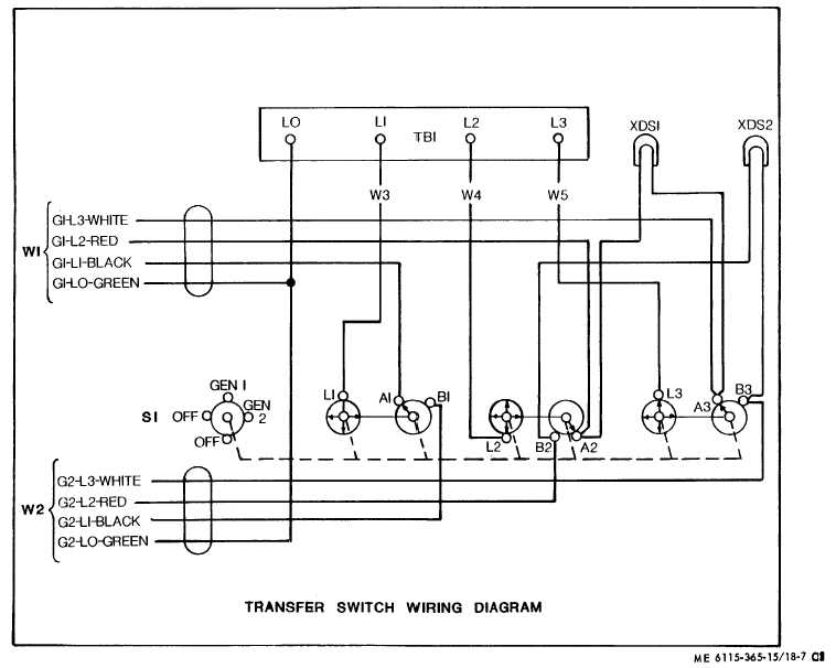 TM 5 6115 365 15_275_1 figure 18 7 transfer switch wiring diagram 3 phase manual changeover switch wiring diagram at aneh.co