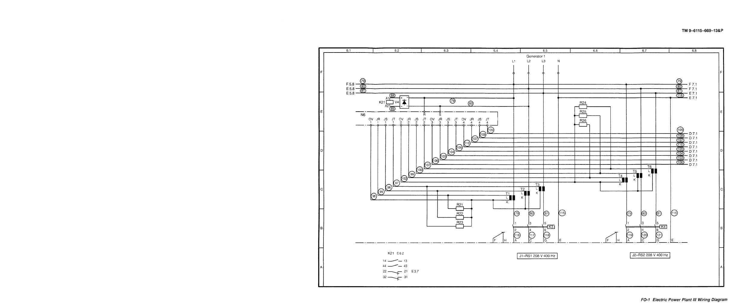 Fo 1 Electric Power Plant Iii Wiring Diagram Cont Tm 9 6115 669 Diesel Generator 13p Set Engine Driven Skid Mounted 150 Kw 400 Hz Alternating Current Manual Page Navigation