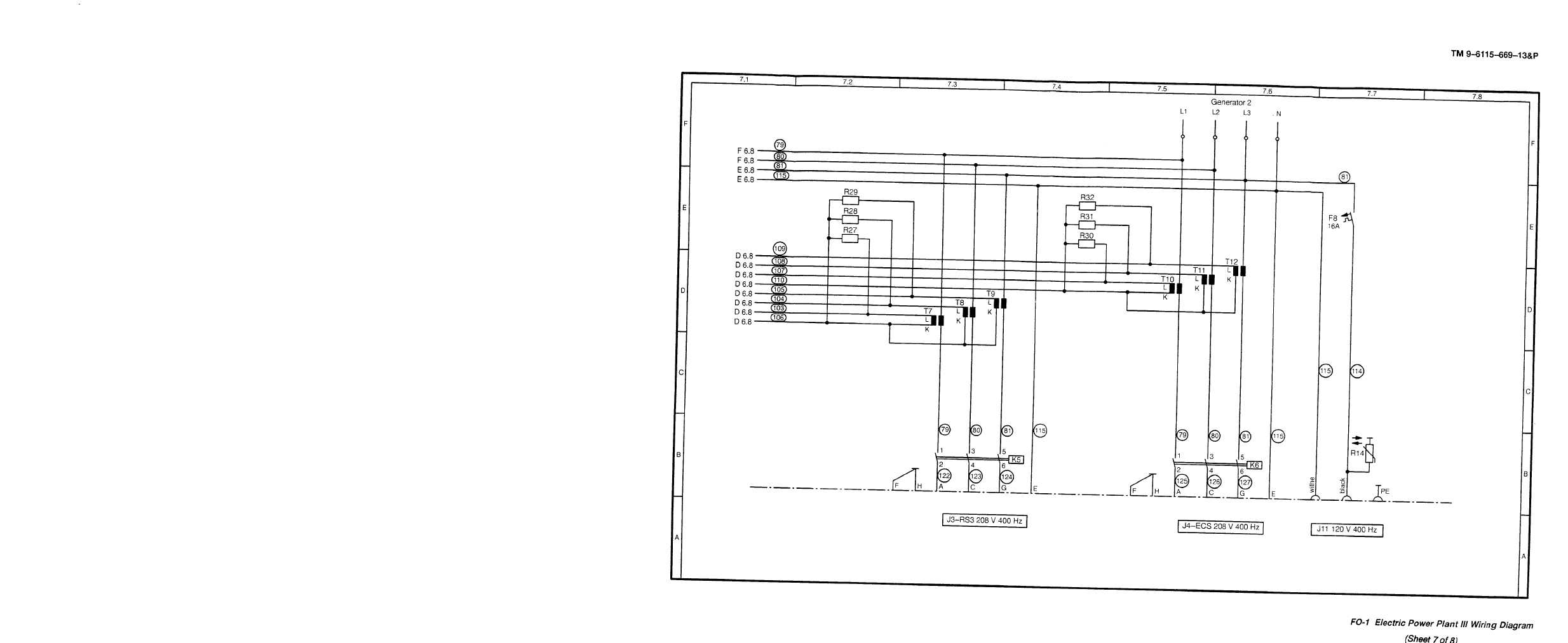 Fo 1 Electric Power Plant Iii Wiring Diagram Cont Tm 9 6115 669 6 Diesel Engine 13p 555